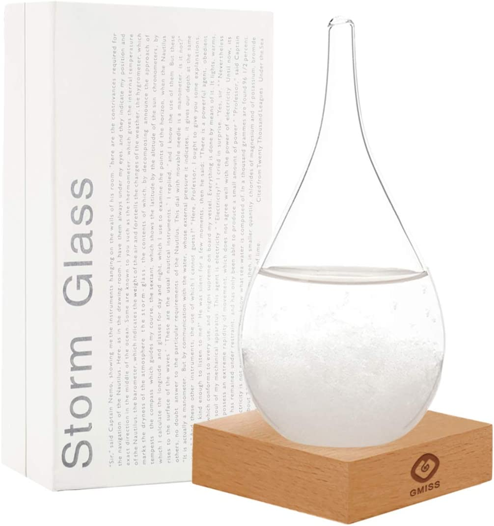 GM GMISS Storm Glass Weatherman, Stylish and Creative Desktop Weather Forecaster with Wooden Base, Small Weather Station for Home and Office (S)