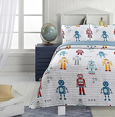 Adrien Boys Bedding Reversible Quilt and Pillow Sham Set, Microfiber, Choice of Twin or Full, Multiple Designs (Robot, Twin) Condel