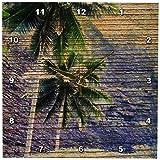 3dRose dpp_28039_1 Wood Tropical Hawaii Palm Trees Wall Clock, 10 by 10-Inch