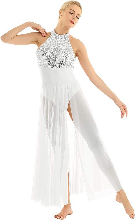 Women Spaghetti Strap Ballet Dance Dress Dancewear Leotard Maxi Skirt Costume