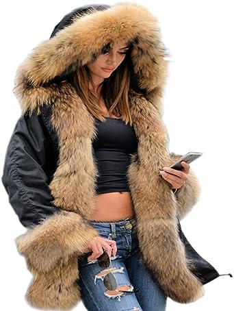 Roiii Femmes Hiver Chaud épais Fausse Fourrure Manteau à Capuche Parka Veste Longue Taille S XXXL