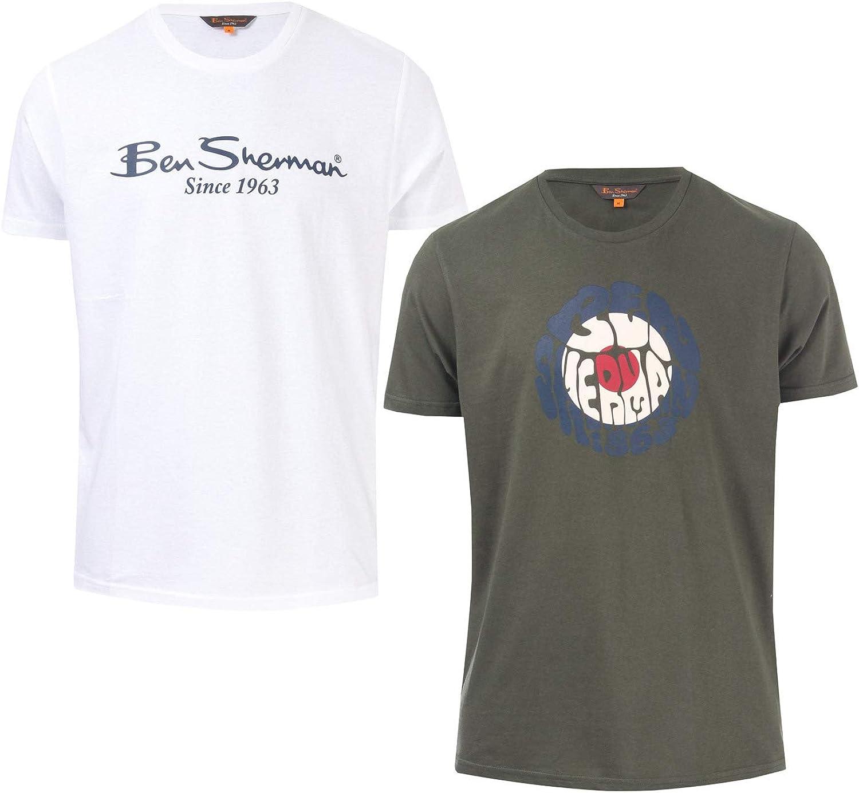 Ben Sherman - Camisetas con logotipo para hombre (2 unidades), color blanco Blanco blanco XXL: Amazon.es: Ropa y accesorios