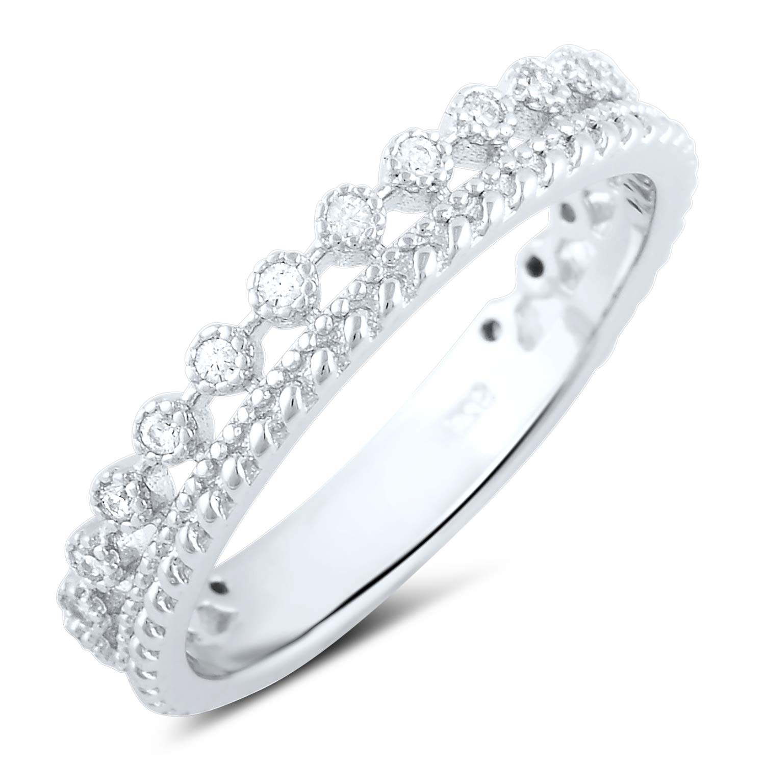 Sterling Silver Double Row Cz Eternity Ring - Size 8