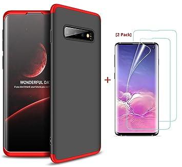 JOYTAG compatibles para Funda Samsung Galaxy S10 Carcasa +Protector de Pantalla [2 Paquetes] 360 Grados Ultra Delgado 3 en 1 Case-Rojo Negro