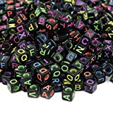 ESUMIC Mixed 500PCS Acrylic Plastic Letter Beads Spacer Cube Alphabet Beads for DIY Bracelets Necklaces (Black Mutil)