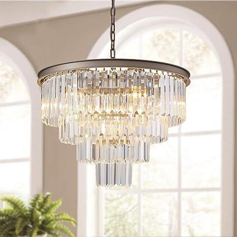 Meelighting 9 Lights Crystal Modern Nickel Chandeliers