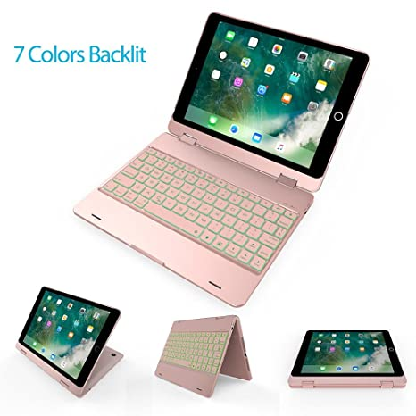 Amazon.com: KOBWA iPad 9.7 Keyboard Case - 360 Degree Rotation 7 Colors LED Backlit Wireless Bluetooth Keyboard Case for iPad 9.7 2018(6th Gen), ...