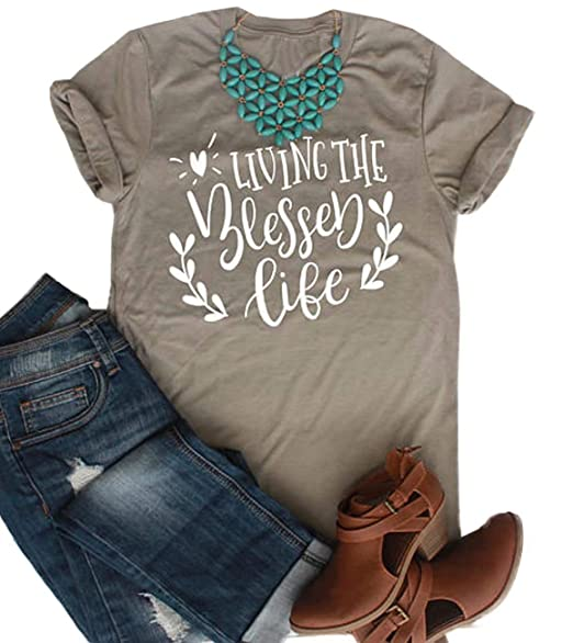 c7c00f042da Living The Blessed Life Mom Christian T-Shirt Women Cute Letter Printed  Graphic Tee Casual