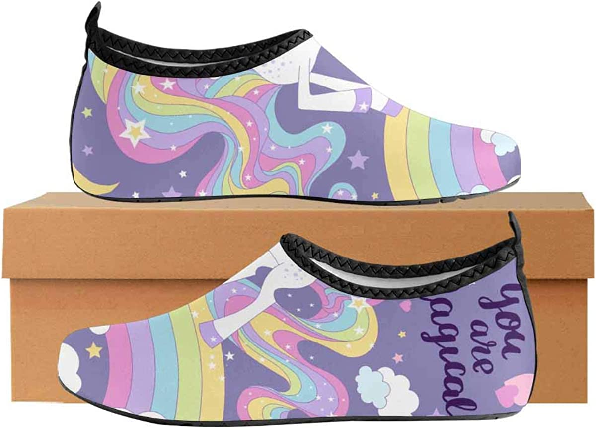 INTERESTPRINT Mens Aqua Water Shoes Magical Cartoon Unicorn Beach Yoga Socks for Surf Swim Water Sport