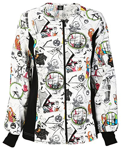 Tooniforms Zip Front Knit Panel Warm-Up Jacket | Halloween Town Size XL (Halloween Scrubs)
