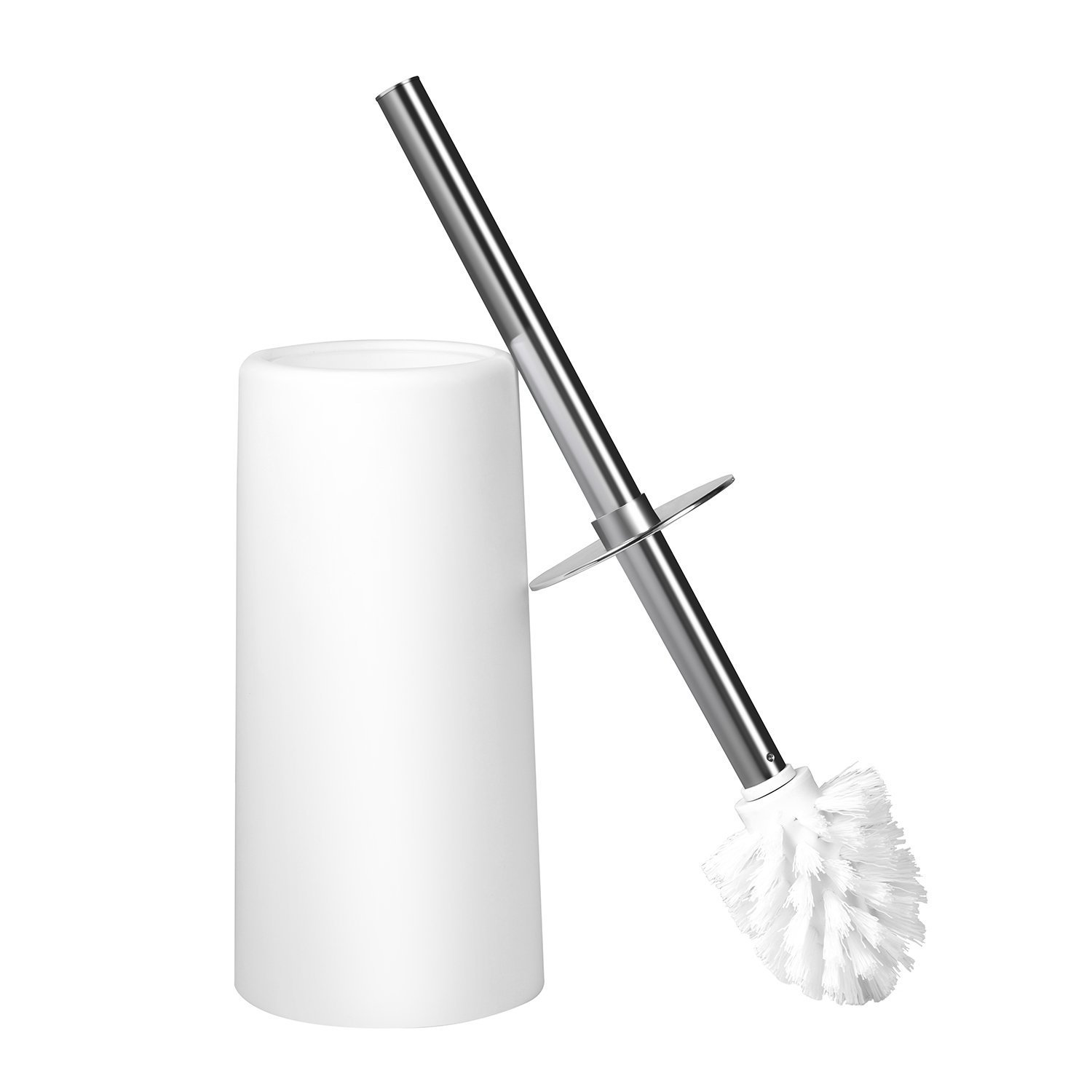 MoonLa Toilet Brush and Holder for Bathroom Toilet, Stainless Steel Handle Longer Toilet Bowl Brush, Sturdy and Deep Cleaning (White)
