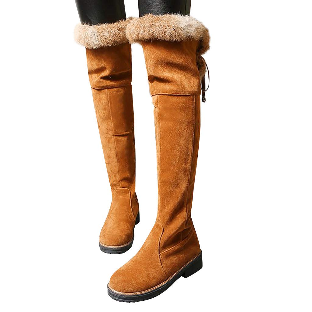 Snow Boots for Women Winter Warm Thigh High Boots Women Faux Fur Suede Over The Knee Boots by Dainzuy by Dainzuy Women's Shoes