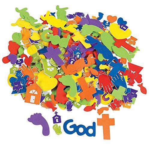 Fun Express - Fabulous Foam Faith Adhesive Shapes - Craft Supplies - Foam Shapes - Regular - 500 Pieces