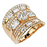 Round and Baguette White Cubic Zirconia 18k Gold over .925 Silver Concave Multi-Row Scoop Ring