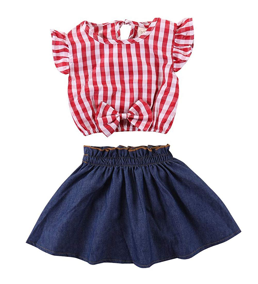 Kids Baby Girl Dress Red Plaid Bowknot Shirt Top Denim Mini Skirt Set 2Pcs Dress Set
