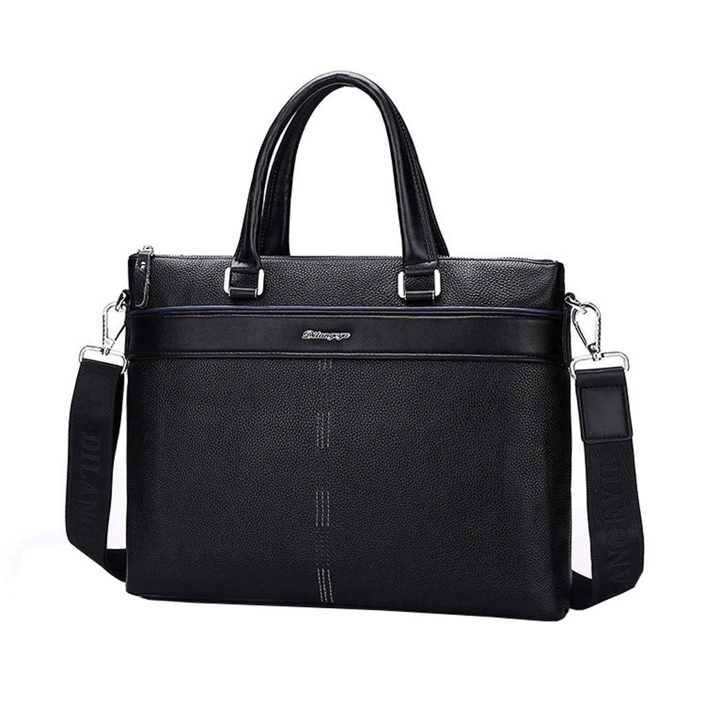 Cloud New Mens Briefcase Shoulder Portable Diagonal Big Bag Business Casual Color : Black, Size : 29cm