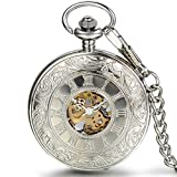 JewelryWe Silver Half Hunter Classic Hand Wind Mechanical Roman Pocket Watch with 15'' Chain