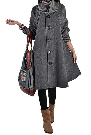 0f998fb3f7ac Femme Extra Long Manteaux Manteau d hiver Veste Mélange de laine  Single-breasted Tranchée Manteau  Amazon.fr  Vêtements et accessoires