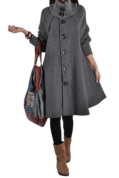 parkas mujer de manga larga gabardina trencas Poncho Chaqueta abrigo capa suelto