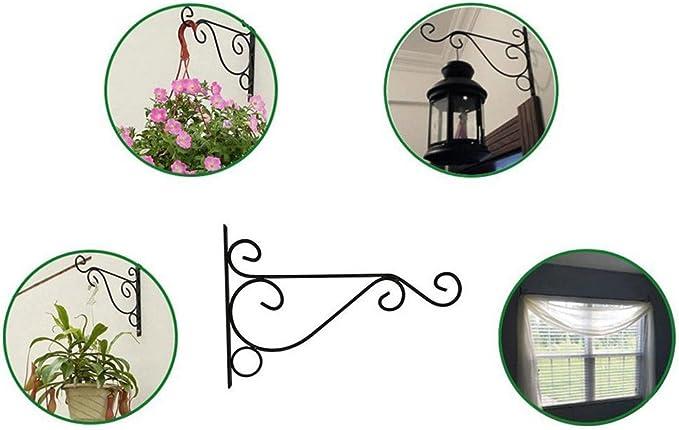 tianxiangjiaju Metal Iron Wall Hook Multi-Function Art Plant Holder Hanger Hook Family Garden Decoration Black L