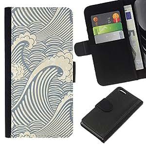 NEECELL GIFT forCITY // Billetera de cuero Caso Cubierta de protección Carcasa / Leather Wallet Case for Apple Iphone 5C // Patrón de la onda del remolino
