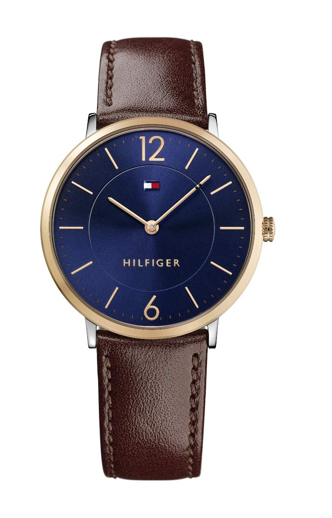 Tommy Hilfiger Men's Sophisticated Sport Stainless Steel Quartz Watch with Leather Strap, Brown, 20 (Model: 1710354)