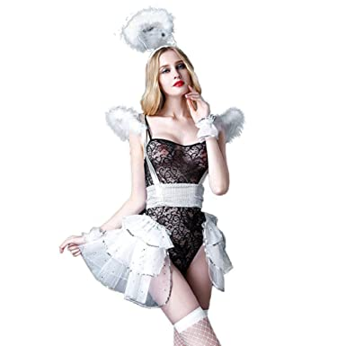 5c65d0cb9af Amazon.com: TEMPT Women's Sexy Angel Costume Lingerie Babydoll Bunny ...