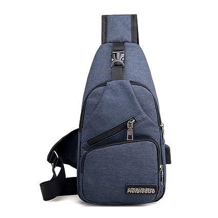 fdaa6da4a9 Image Unavailable. Image not available for. Color  AILIUJUNBING Male  Shoulder Bags USB Charging Crossbody Bags Men Anti Theft Chest Bag ...
