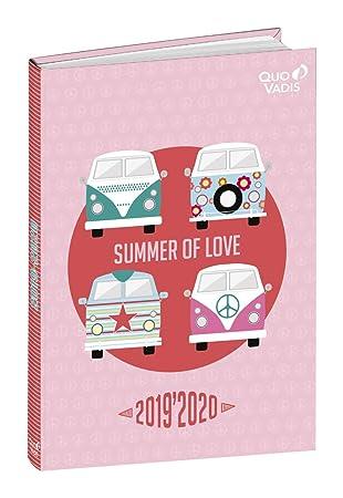 Agenda Escolar 1 Día/Página 2019-2020 Love&Peace, 12x17cm, diseño Verano