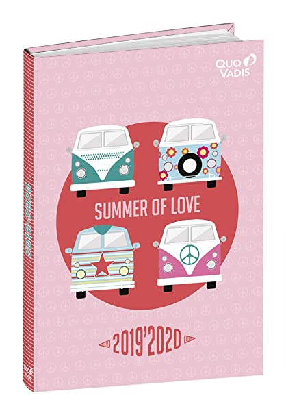 Love&Peace 2019-2020 School Diary, 1 Day/Page, 12 x 17 cm, Summer Design