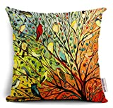 Decorative Pillow Cover - Oil Painting Hundreds of Birds Cotton Linen Throw Pillow Case Cushion Cover Home Sofa Decorative 18 X 18 Inch