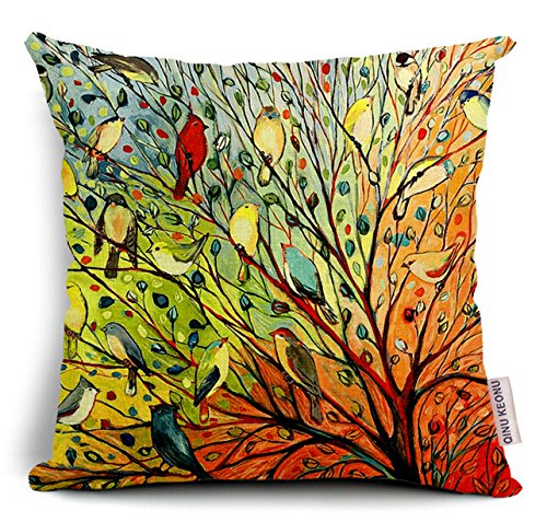 oil painting hundreds of birds cotton linen throw pillow case cushion cover home sofa decorative 18 x 18 inch