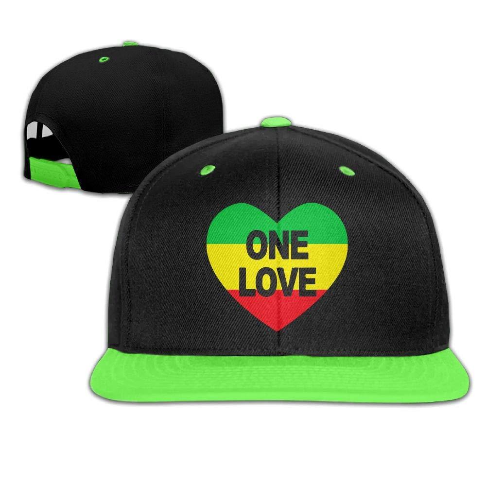 Kids Boys Girls One Love Rasta Colors Heart Baseball Cap Trucker Adjustable Cap Hats