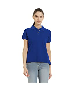 CHKOKKO Plain Cotton Half Sleeves Collar Polo Neck Tshirt for Women Royal Blue 4XL Size