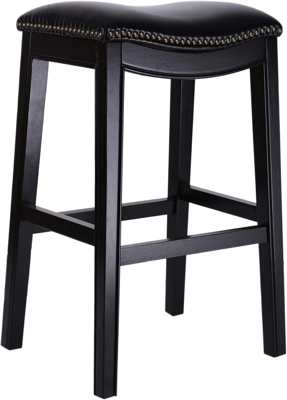Bravery Padded Saddle Stool 30- Inch Height, Bar Stool with Backless , Wood Counter Stools Nailhead and Cushion Seat , Wlanut /Black Amoyland (Black)