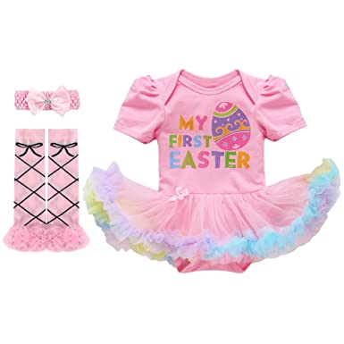 2c4841640e76 Amazon.com  Baby Girls 1st Easter Outfit Rabbit Bunny Eggs Romper ...