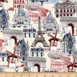 Kaufman Dream Vacation Paris Collage Natural Fabric By The Yard
