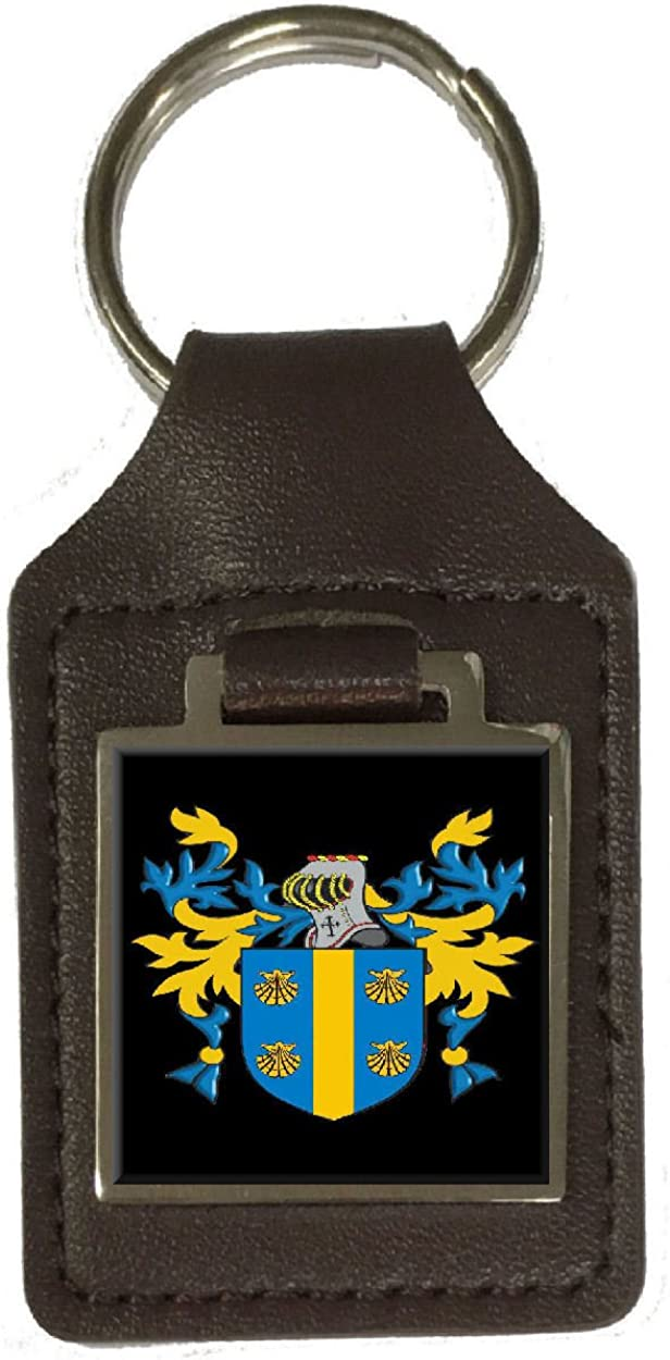Willcutt Family Crest Surname Coat Of Arms Brown Leather Keyring Engraved