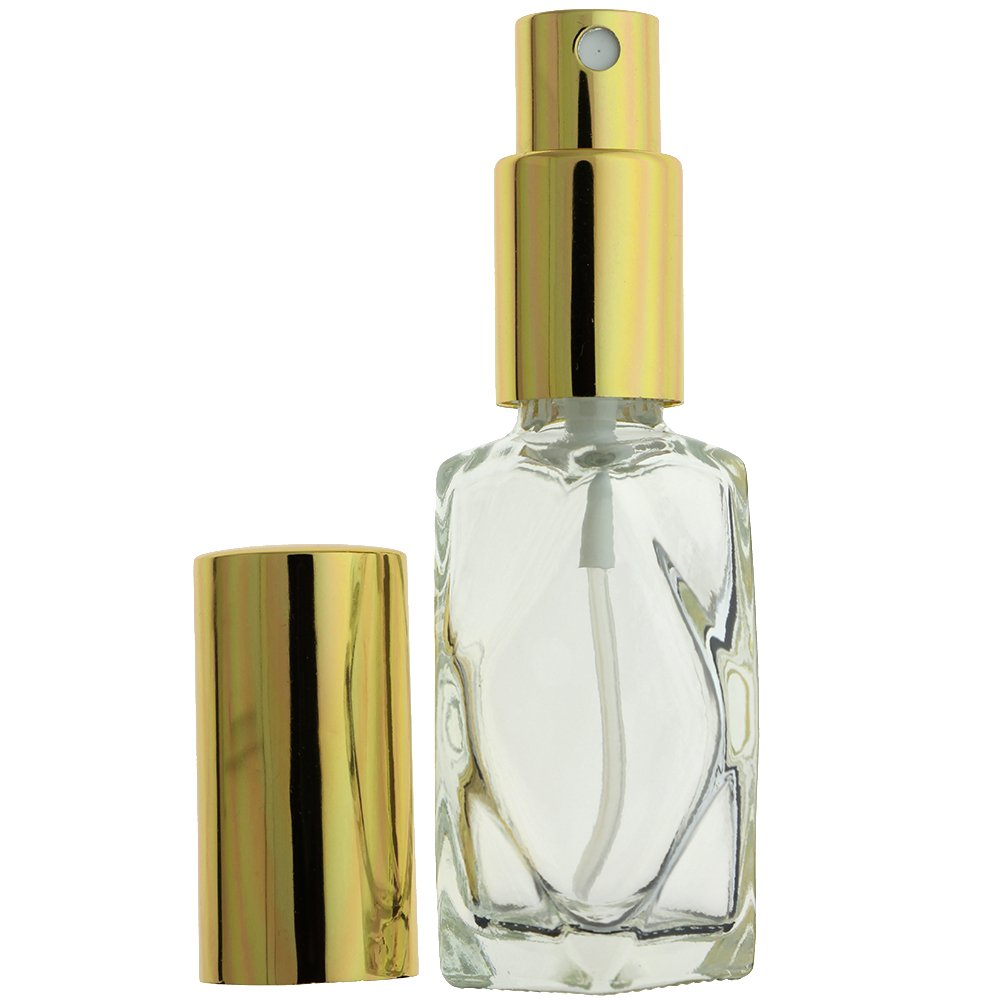 24-PIECE 1 OZ 30 ML DIAMOND CUT EMPTY REFILLABLE GLASS BOTTLE WITH FINE MIST GOLD SPRAYER (Perfume Fragrance Cologne Essential Oil Atomizer) by Aura Variety