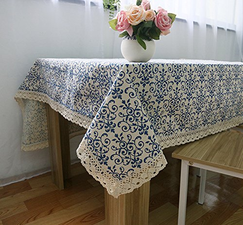 YRRW Retro Linen Cotton Tablecloth WashableCoffee Dinner Blue and White Porcelain Table Cloth Blue 140200