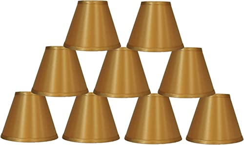 Urbanest Set of 9 Satin Chandelier Lamp Shade, 3-inch by 6-inch by 5-inch, Gold, Clip-on, Hardback