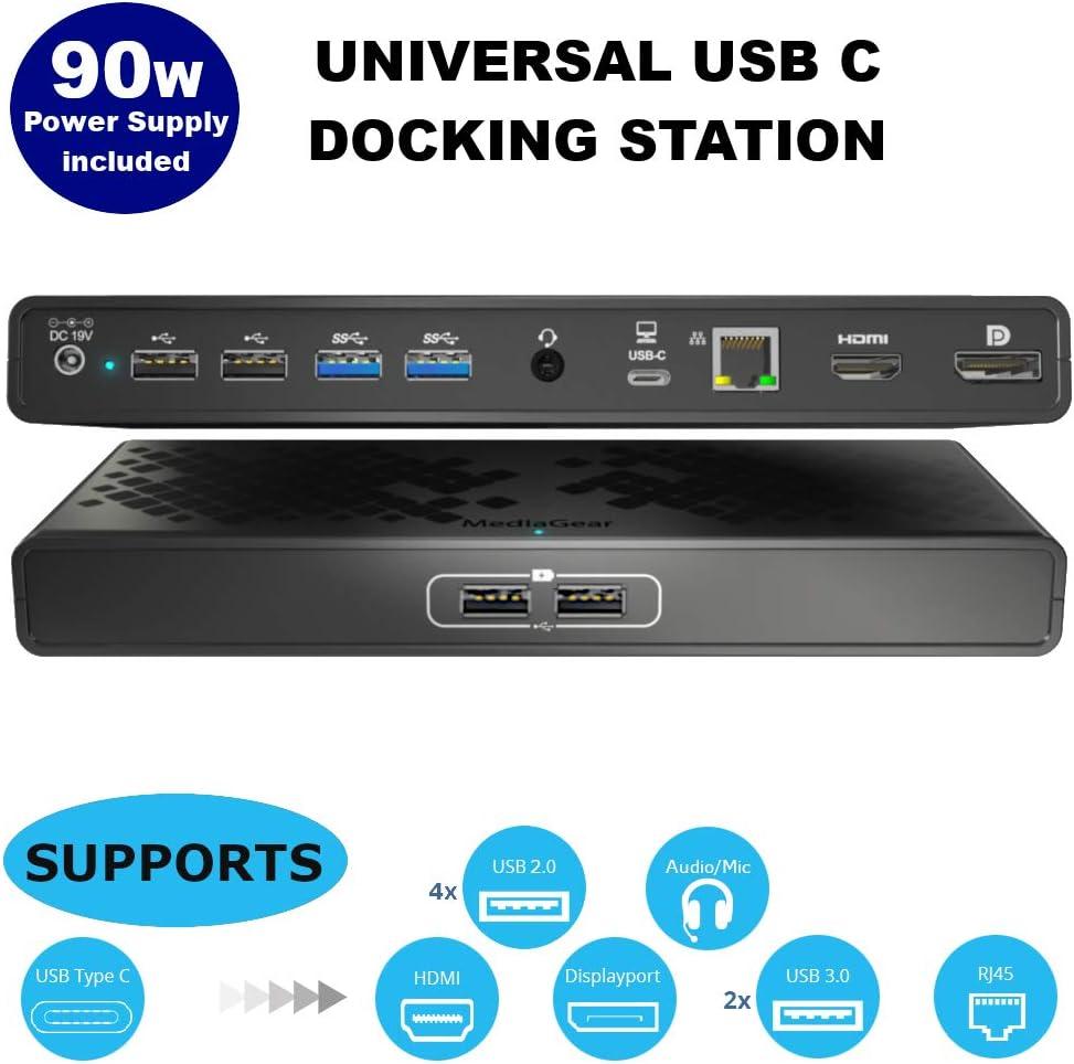 mediaGear Dual Display USB C Docking Station w/ 70W Power Delivery. Ports: HDMI, DisplayPort, 6X USB, Gigabit Ethernet, Audio/Mic for Mac & Windows OS