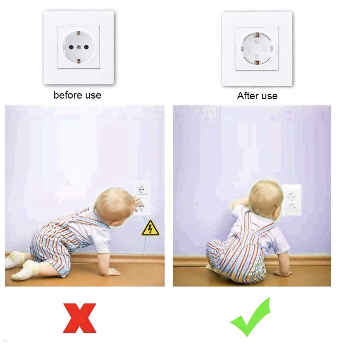 Protector Enchufes Seguridad Infantil Con Mecanismo De Giro Y Adhesivo 3M Ideal Para Bebes Ni/ños Y Peque/ños En El Hogar Schuko Europeo 20 Tapas Color Blanco