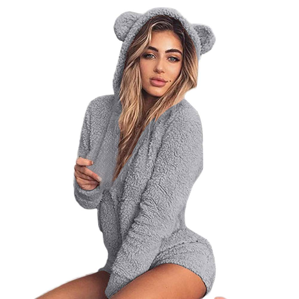 Inverlee Women's Hooded Autumn Cute Shorts Rompers Home Service Jumpsuit