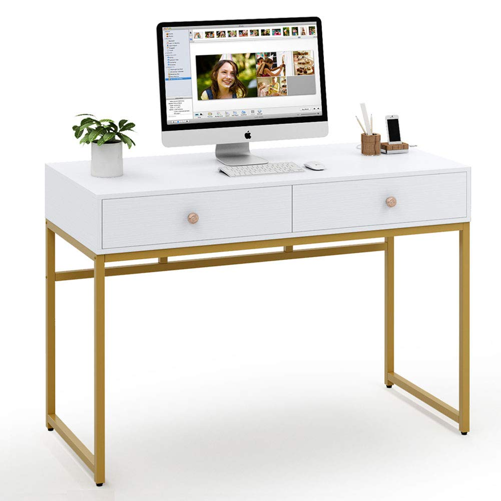 Tribesigns Computer Desk, Modern Simple Home Office Gold Desk Study Table Writing Desk Workstation with 2 Storage Drawers, Makeup Vanity Console Table (47 inch, White)