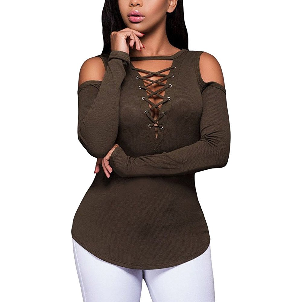 Lmx+3f Womens Solid Color Strapless Lace Up Cross Neck Bandage Long Sleeve T-Shirt Blouse Loose Soft Comfy Tops Coffee