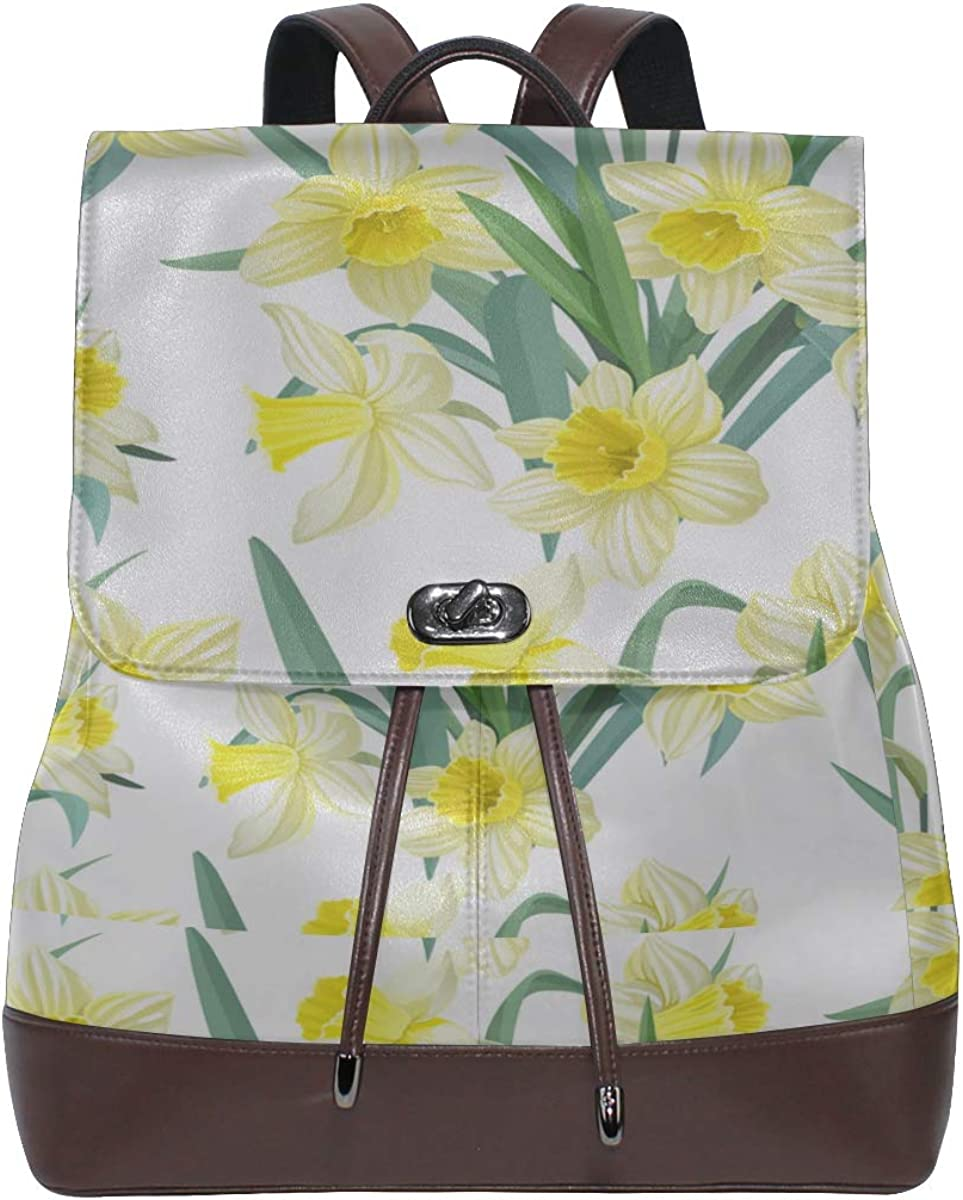 Spring Yellow Flower Narcissus With Garden Fashion Leather Backpack Kids Backpack Leather Drawstring Waterproof Stylish Backpack Fashion Bags For Women