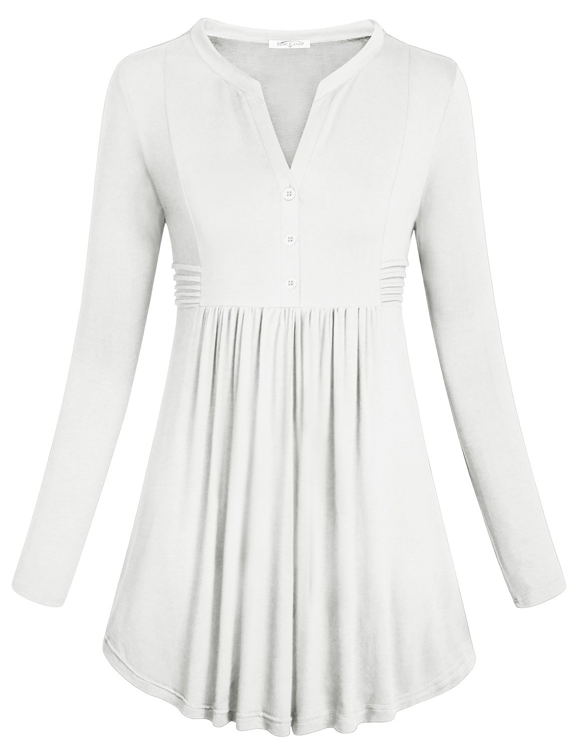 SeSe Code Loose Tunic Tops for Women with Sleeves, Ladies Long Sleeve Henley V Neck Career Shirts for Leggings Button-up Trim Pleats Flared Hemline High Waist Blouse Tunic White Large