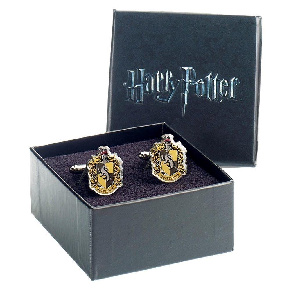 Offizieller Harry Potter Hogwarts Hufflepuff Wappen Silber vergoldete Manschettenknöpfe - Boxed HC0024