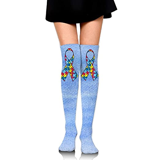 9b047c954cee6 Image Unavailable. Image not available for. Color: Autism Awareness Unisex  Over Knee High Socks ...